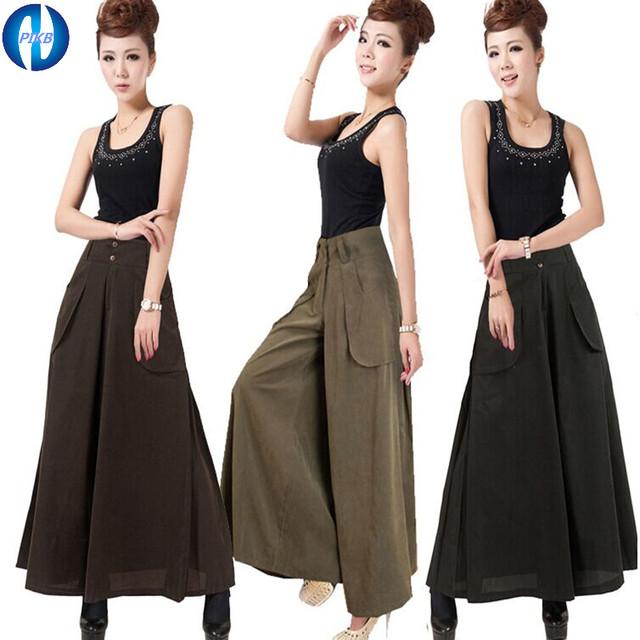 Makuluy 2017 DOM melhor algodão ampla calças de alta qualidade das mulheres calças de pernas largas calças casuais calças perna larga cintura fina senhora calças