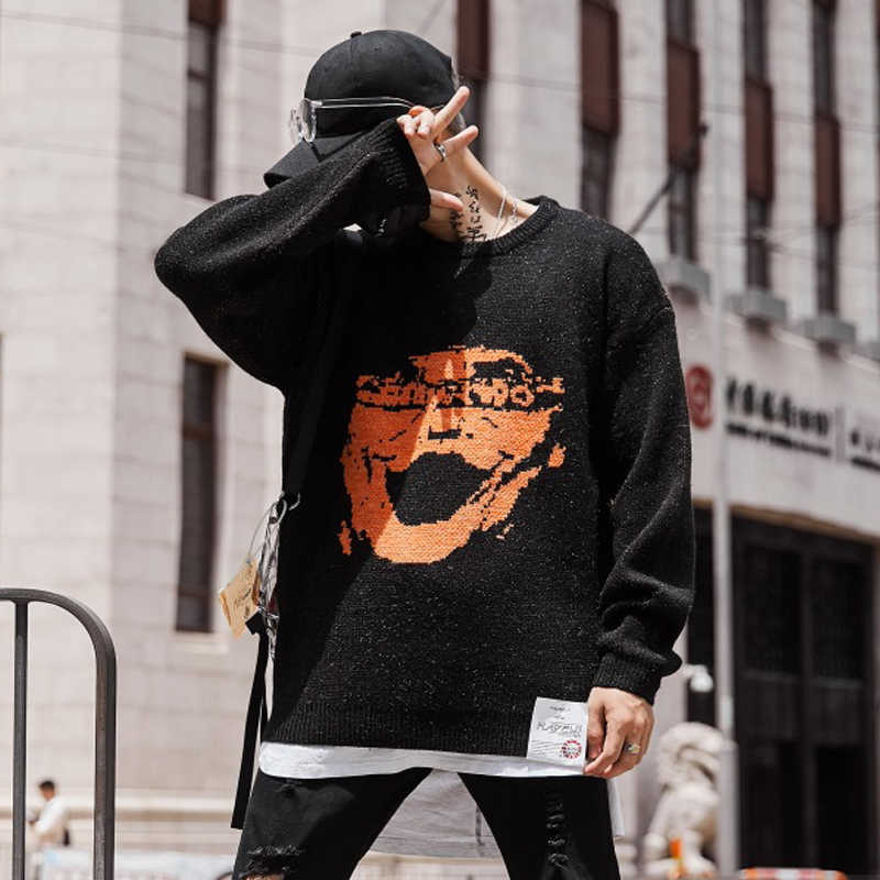2019 New High Street Pattern Knit Street Stylish Mens Hip Hop Casual Pullover Sweaters Male Fashion Loose Full Sleeve Sweaters