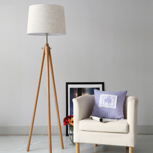 Modern Nordic wooden floor lamps wood Fabric lampshade tripod for living room bedroom indoor home lighting fixture