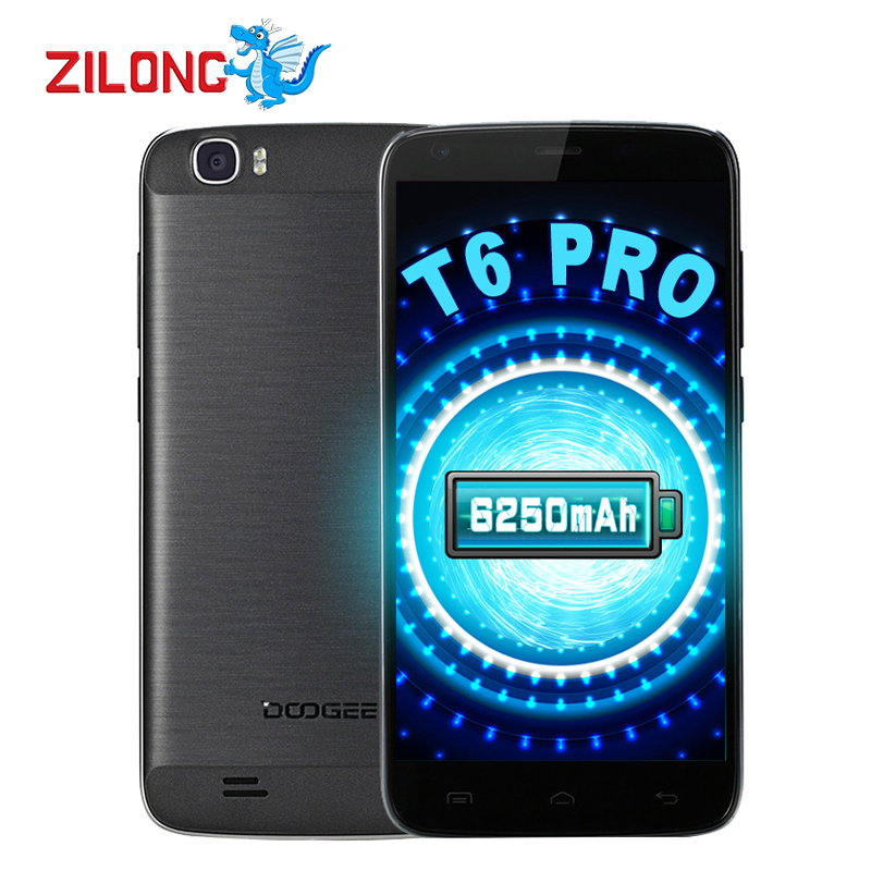 Цена за Оригинал DOOGEE T6 PRO 4G LTE 5.5 дюймов Octa основной Мобильный телефон Android 6.0 13MP MT6753 3 ГБ + 32 ГБ 6250 мАч Быстрая Зарядка мобильный телефон