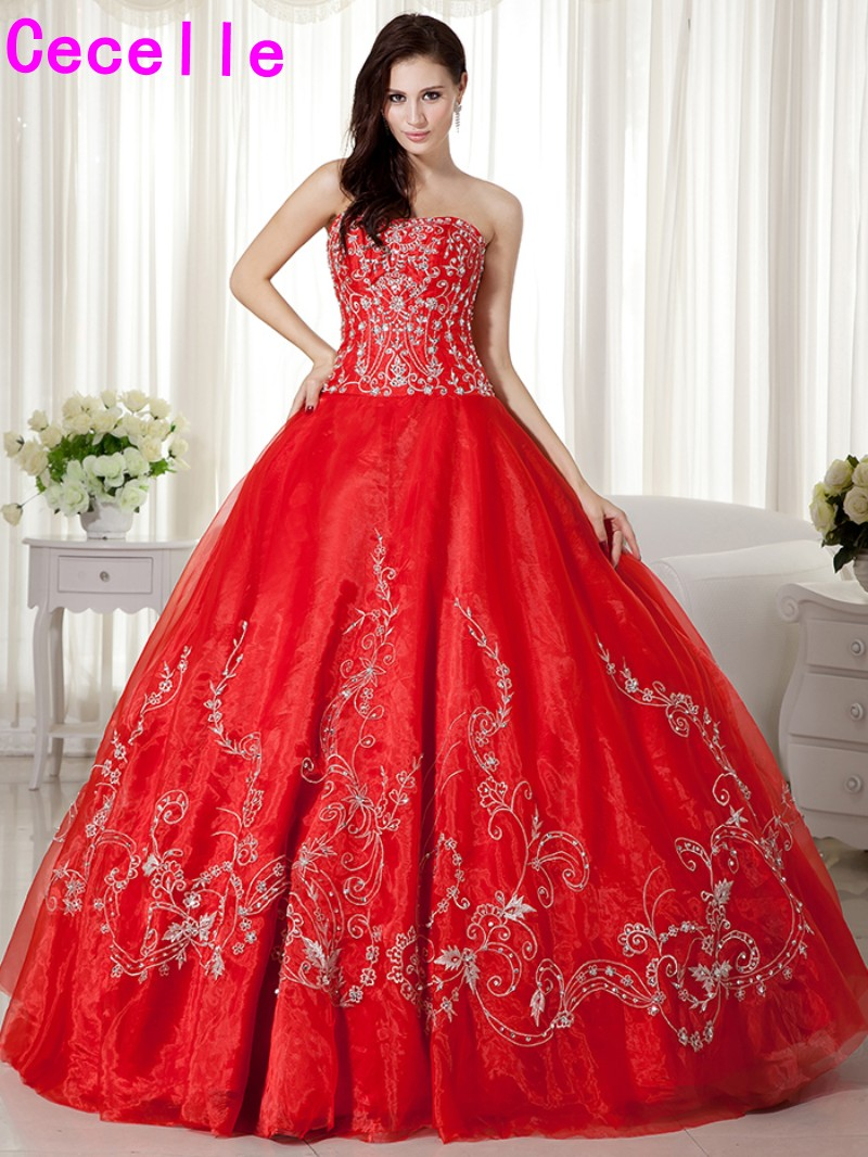 2017 Vintage Ball Gown Red Wedding Dresses Colorful Non White Bridal Gowns Embroidery Beaded Princess Bride's Dress Custom Made