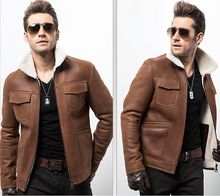 Male Sheepskin jacket Men's leather jackets 2015 Air force M65 Fur  Men's leather A jacket WANG001
