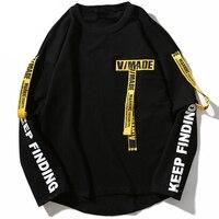 T shirt Men 3d Shirt Printing Letter Ribbon Harajuku Cotton Long Sleeve Streetwear T Shirt Fashion Casual Tops Tees Sweatshit