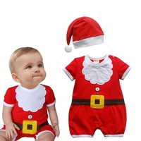 Red Christmas Jumpsuits Hats Newborn Baby Boy Clothes Toddler Clothing Fantasias Infantil Macacao Bebe Infant Christmas