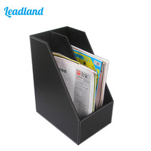 2-Slot PU Leather File Holder Rack Newspapers Organizer Cabinet Magazines Documents Storage Tray For Office& School