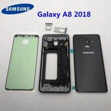 Carcasa completa para Samsung Galaxy A8 2018, A530, A530F, Marco medio, carcasa de bisel de metal, chasis, cubierta trasera de cristal de batería A8