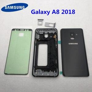 Image 1 - Para samsung galaxy a8 2018 a530 a530f habitação completa quadro médio moldura de metal habitação chassis a8 bateria vidro volta capa