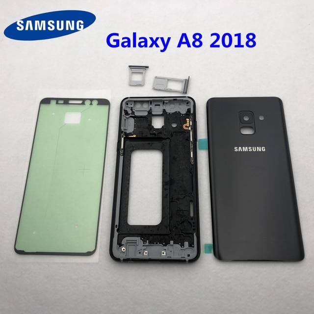 Para samsung galaxy a8 2018 a530 a530f habitação completa quadro médio moldura de metal habitação chassis a8 bateria vidro volta capa