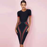 Ocstrade Women Vestidos Bandage Dress 2019 New Summer Color Block Club Party Bodycon Dress Elegant High Quality HL Bandage Dress