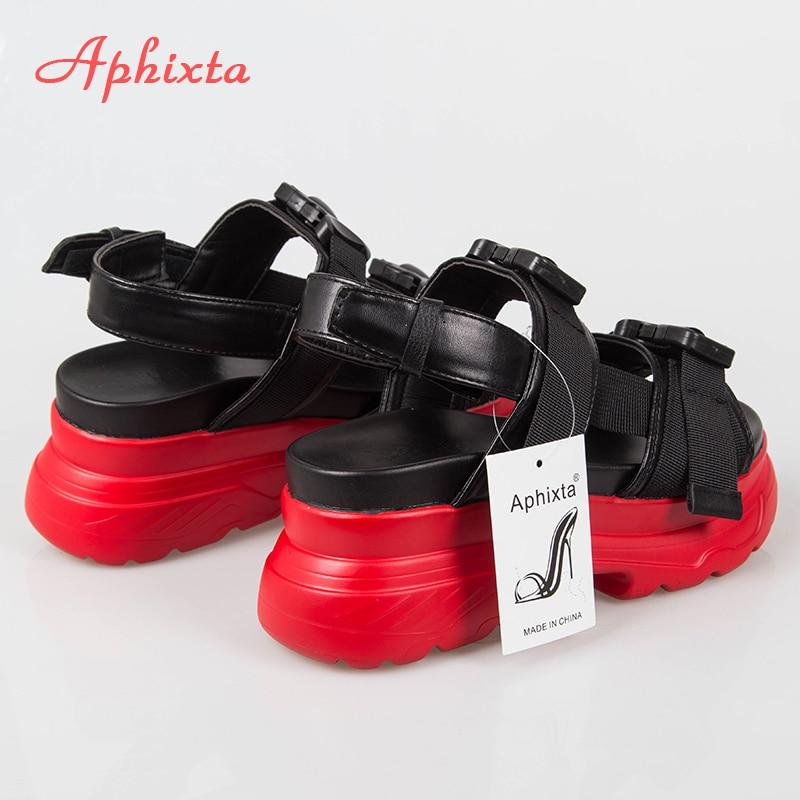HTB1kbNmXwmH3KVjSZKzq6z2OXXa5 Aphixta 8cm Platform Sandals Women Wedge High Heels Shoes Women Buckle Leather Canvas Summer Zapatos Mujer Wedges Woman Sandal