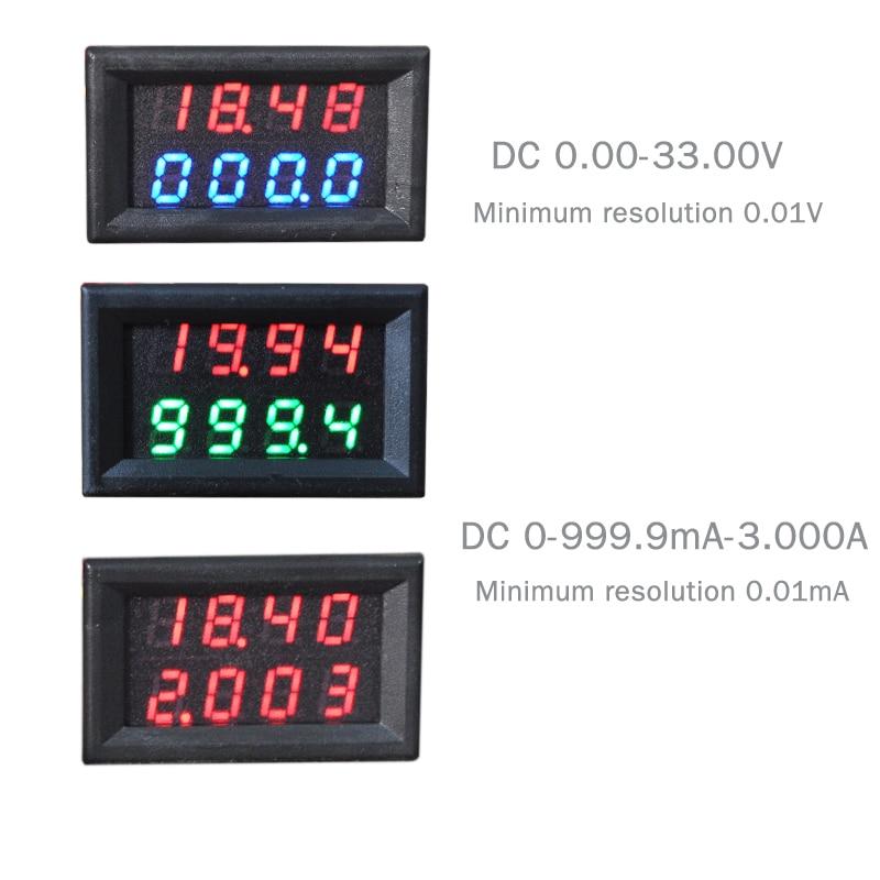4 Bit 0-33V 3A DC Voltmeter Ammeter Digital LED Dual Display Amp Volt meter High Quality High-precision Minimum resolution 0.1MA 3 1 2 digit 2 2 led display panel digital meter ammeter dc 3a
