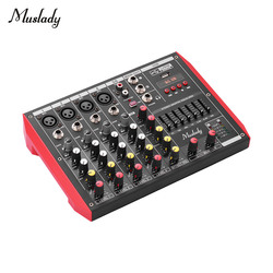 Muslady D6 Portable 6-Channel Mixer 7-band EQ mixer audio Built-in 48V Phantom Power Supports midi USB MP3 Player mixer audio
