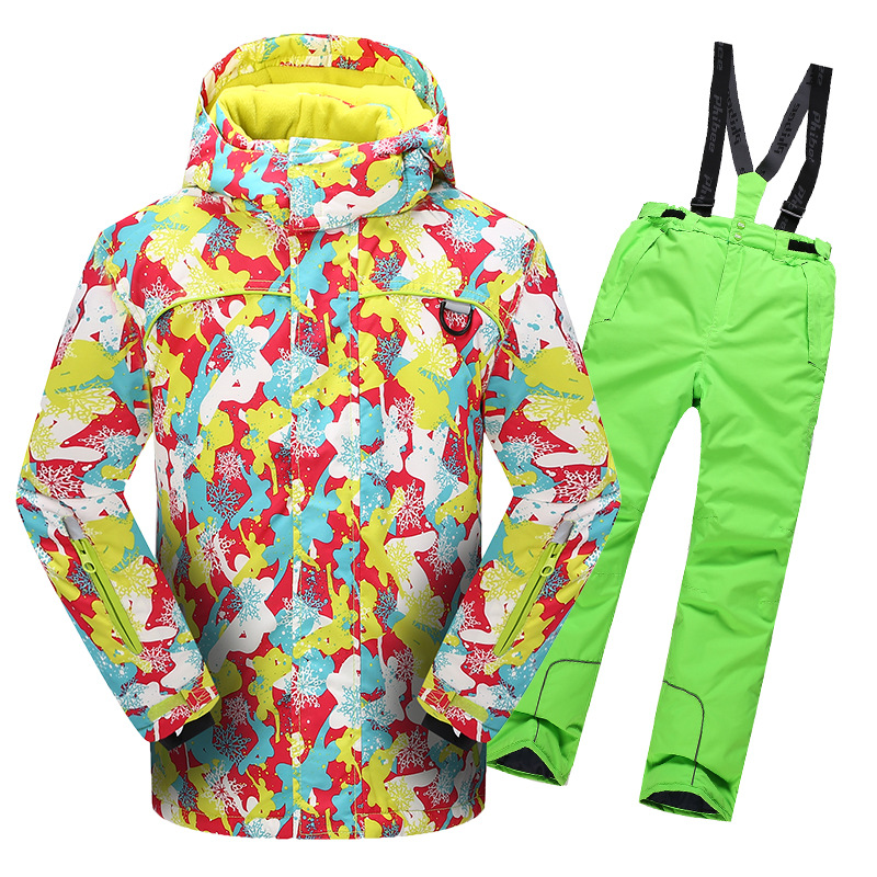 Children's Snow Ski Suits For Baby Boys Girls Outdoor Wear Hooded Jackets+Bandage Pants Kids Winter Warm Snowboard Coat Sets