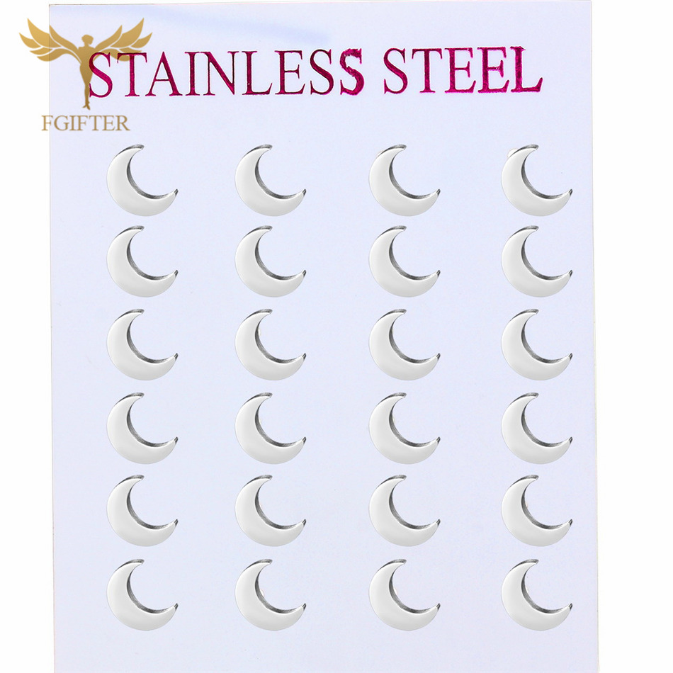 Wholesale Moon Earrings 12pairs one lot Silver Color Stainless Steel Jewelry for Woman Girls Gifts Small Earring Jewellery