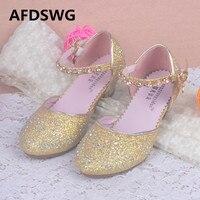 AFDSWG Summer Fashion Gold Diamond Glitter High Heel Shoes Kids Princess Shoes Pink Dance Shoes Sandals