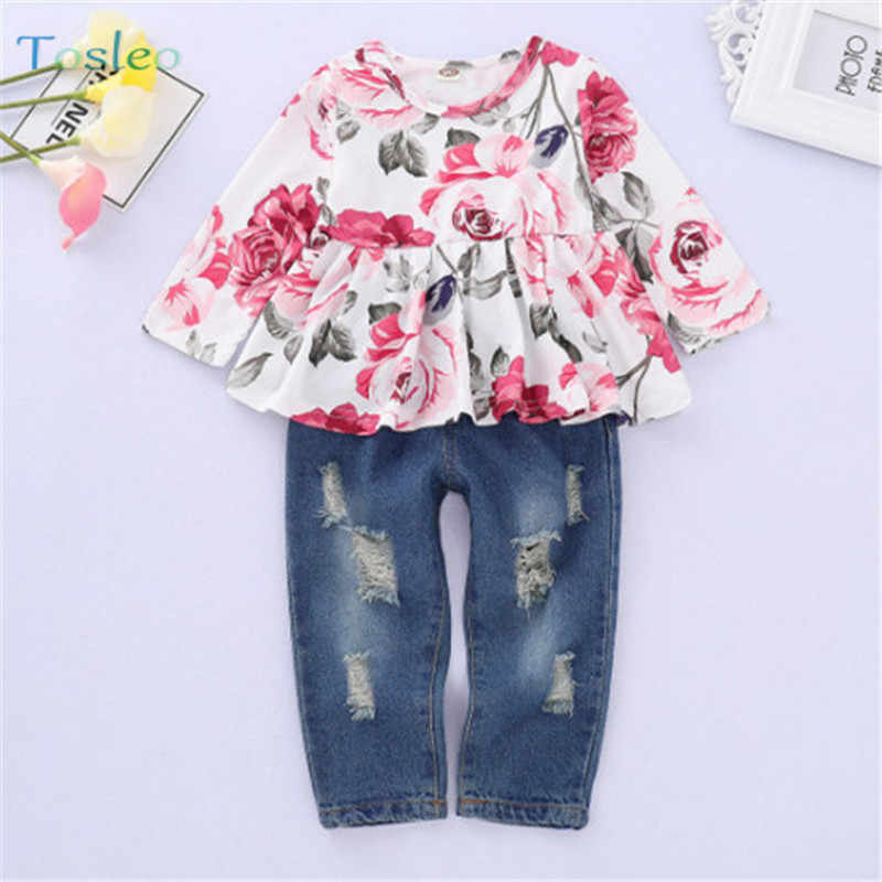 c3800401b Baby Girl Clothing Set Spring 1PC Floral Print Tops+1Pc Pants Fashion  Toddler Girl Photography