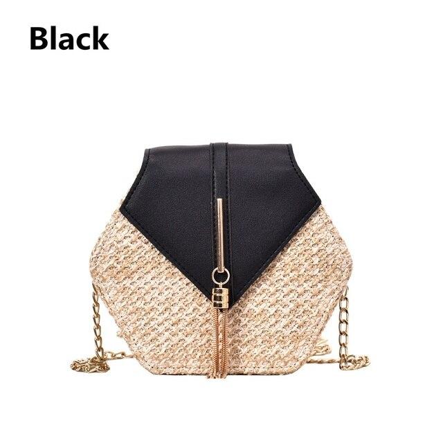Hexagon Straw PU Handbag...