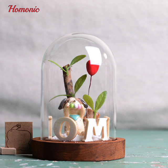 Beauty Resin Artificial Flowers Set Glass Cover Bonsai Trees Fake Plants Home Decor Vase New Years Eve Party Supplier