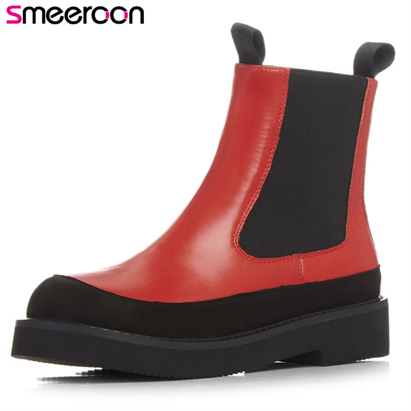 Smeeroon 2018 fashion autumn winter boots women round toe low heels ankle boots slip on high quality cow leather boots big size trx 500 foreman carburetor carb 2005 2011 brand new highest quality