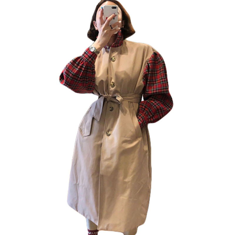 SuperAen Korean Style Trench Coat for Women Plaid Stitching New Autumn 2018 Women Windbreaker Casual Cotton Fashion Coats