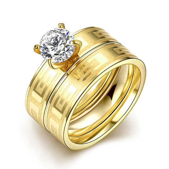 Dubai gold color Rings for women lovers Gift fashion Zircon