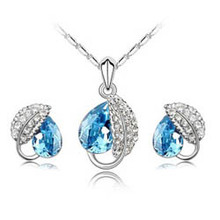 Austrian crystal Drop pendant silver plated Acacia leaves african costume jewelry set for wedding