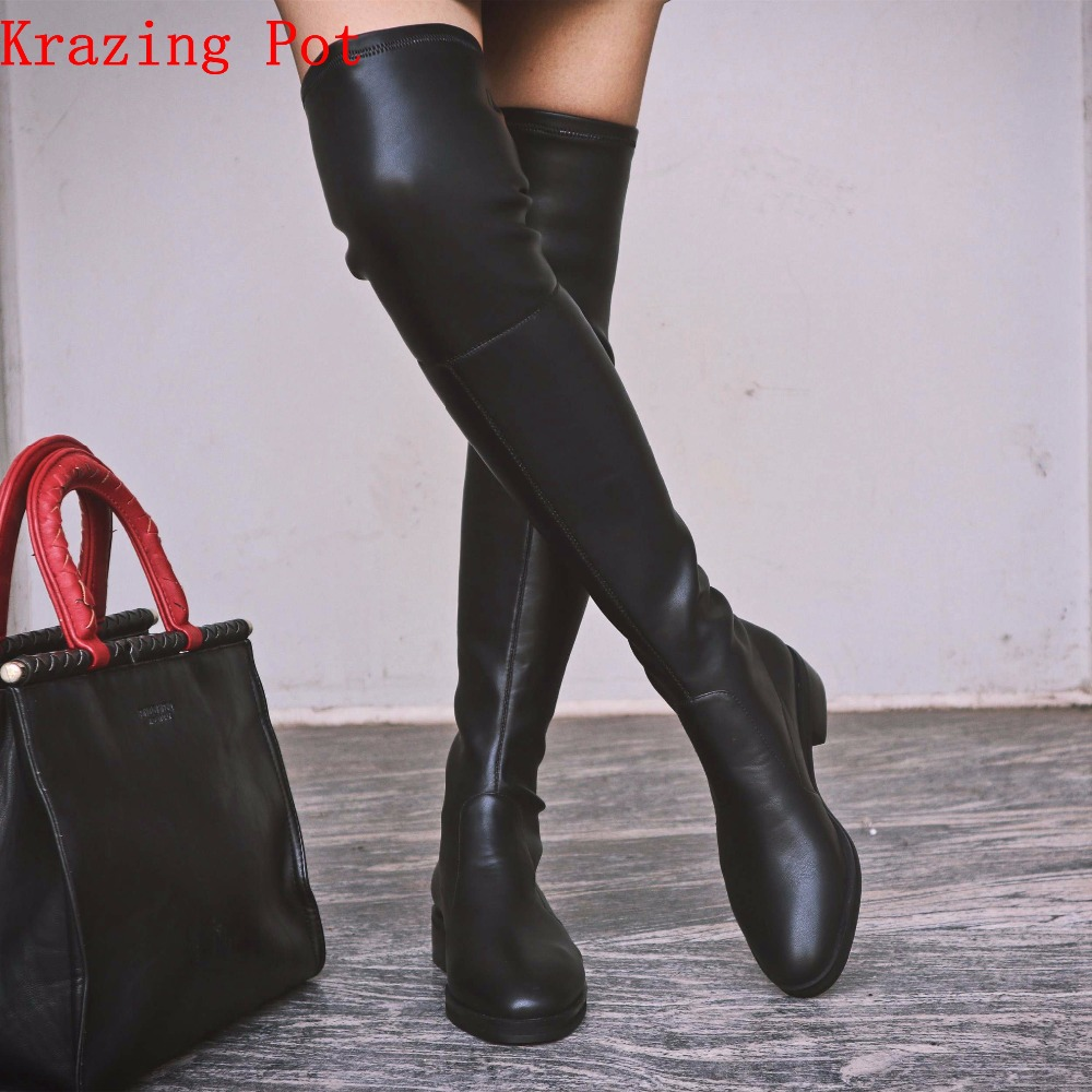 Krazing Pot 2019 cow leather cow suede stretch boots thin leg long boots keep warm low