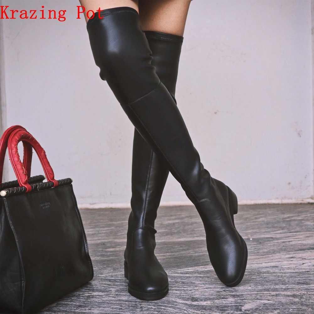 Krazing Nồi 2019 màu bò da lộn co giãn giày mỏng chân dài Giày giữ ấm Giày gót thấp sang trọng đi đầu gối giày cao cổ L10