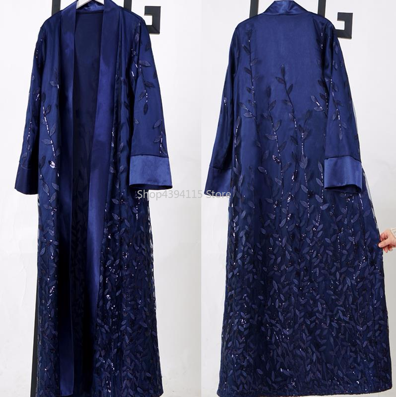 Кардиган с блестками мусульманский хиджаб платье кафтан открытым Абаи Турции Дубае халат Рамадан Абая для женщин Кафтан турецкая исламская Костюмы