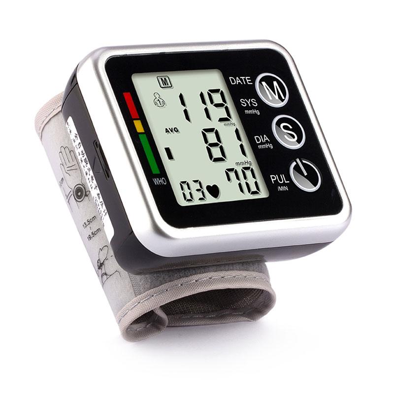 Monitor de presión arterial de muñeca automático para cuidado de la salud Chip Alemania Pantalla LCD portátil esfigmomanómetro Digital