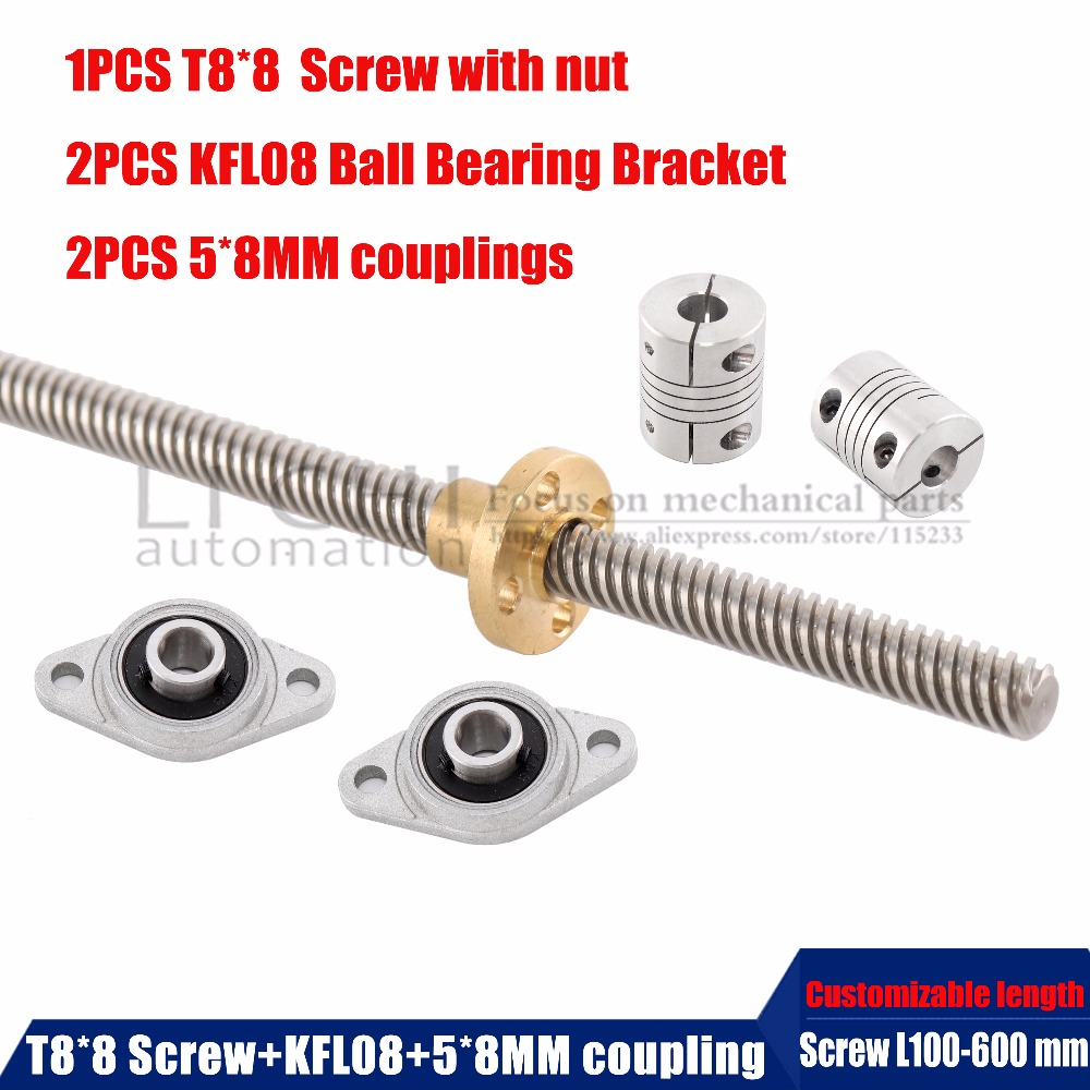 1pcs T8 Lead screw 8mm stainless steel with screw nut +2pc KFL08 Mounted Ball Bearing Bracket+2pc Shaft Coupling for 3D printer t8 1000mm stainless steel lead screw with screw nut kfl08 mounted ball bearing shaft coupling motor set 3d printer accessories