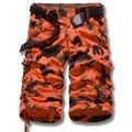 2016 Marca de Moda Militar Impresso Shorts da Carga dos homens Casual Calças Curtas Verão Solto Carga Pantalones Cortos Navio Livre 29-38