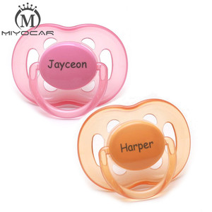 Image 1 - MIYOCAR personalized any name can make 2 pcs pacifier dummy unique gift to baby custom pacifier