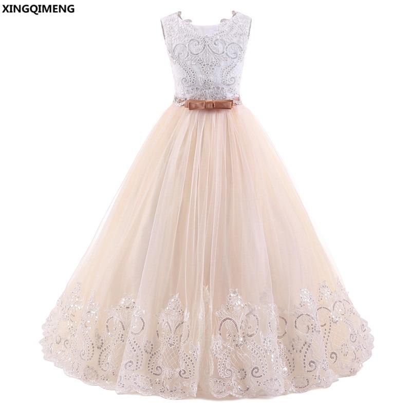 I lager Högkvalitativa blomstrande blonda flickasklänningar 2-12Y - Bröllopsfestklänningar - Foto 1