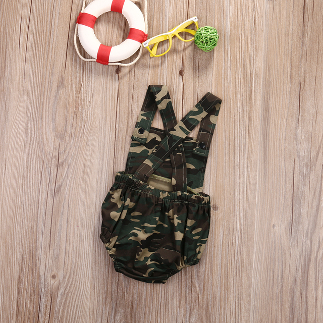 Sleeveless Camouflage Newborn Baby Romper | Spring 2017 Collection