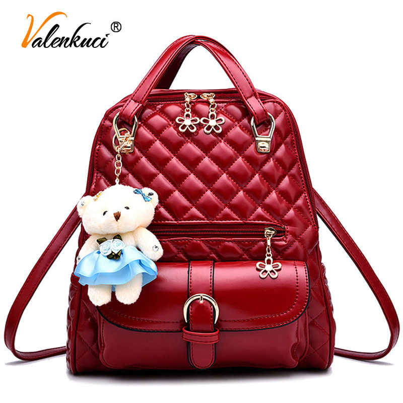 7d64b4ae1758 Бренд valenkuci женские кожаные рюкзаки школьная сумка женские рюкзаки  женские Высокое качество школьные сумки для подростков