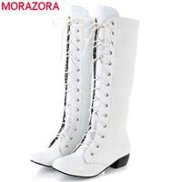 MORAZORA 2017 Neue mode kniehohe stiefel lace-up sexy niedrigen absätzen komfortable hohe qualität herbst frauen stiefel weiß schwarz rosa