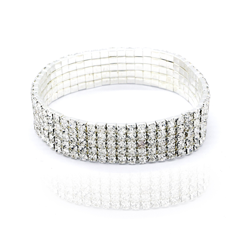 Silver Anklet Chain Bracelet 1 2 3 4 5 Rows Ankle Stretchy Diamante RhinestonesE