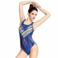 Striped Professional Swimsuit New Printing Plus Size Women One Piece Racing Swimwear Sports Bathing Suit