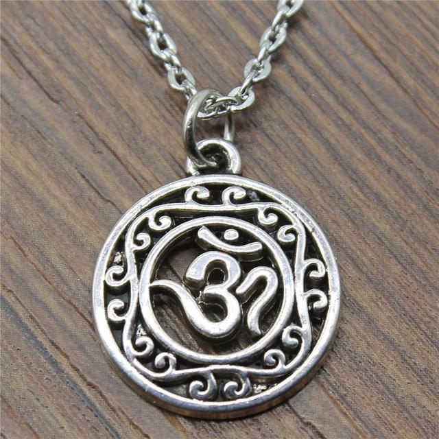 Women Fashion Hollow Carved Circle Om Symbol Necklace Hollow Carved
