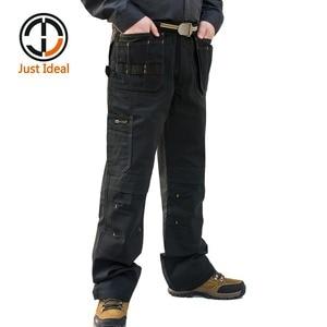 Image 2 - Мужские брюки карго высокой прочности, с несколькими карманами, парусиновые брюки, повседневная одежда для работы, военные тактические длинные брюки полной длины, ID627