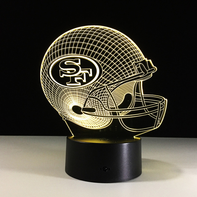 Novelty NFL San Francisco 49ers Football Helmet Illusion LED Night Light 7  Color Changing 3D Table