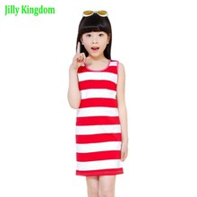 2017 New Vest Dresses For Girls Summer Girls Clothes Fashion Children Clothing Cotton Striped Kids Dress Casual Child Princess