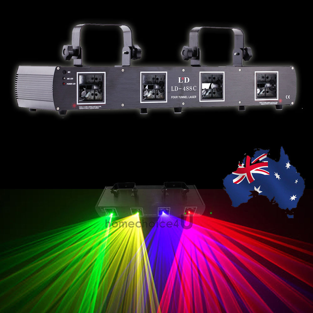 (Shipping From AUD) 4 Lens RGPY 4Colors Laser Light DMX 7CH Disco Stage DJ Party Bar Lighting Show