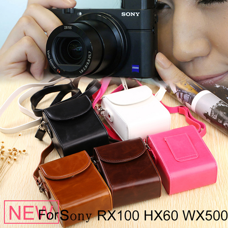 High Quality PU Camera Bag Leather Case For Sony DSC-RX100 RX100 II III RX100 IV M4 M5 HX90V HX90 HX80 HX60 HX50 WX500 W800 W830