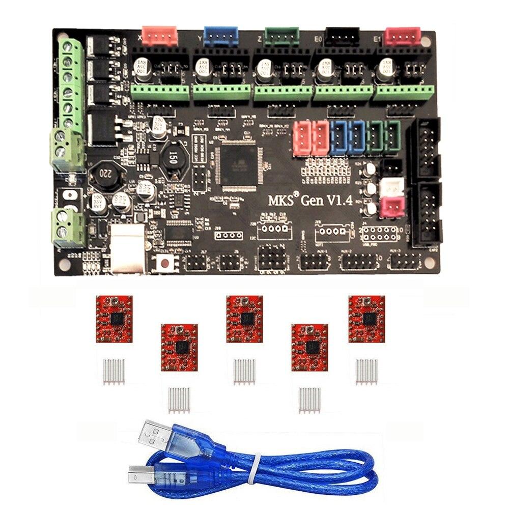 MKS Gen V1.3 3D Printer Control Board (MEGA2560 + RAMPS 1.4) w/ 5PCS A4988 Kits Stepper Motor Driver vakind mks gen v1 0 3d printer control board 5pcs tmc2100v1 3 stepper motor driver for 3d printer parts