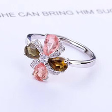 gem jewelery factory fashionable flower-designed 925 sterling silver natural tourmaline necklace pendant ring jewelry set women