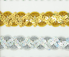 20meters /lot width 2.4cm Gold color sequin lace trimming for garment decoration and DIY craft