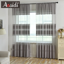 Modern Solid Striped Tulle Curtains For Living Room Window Luxury Semi Sheer Curtains For Bedroom Treatments Voile Drapes Fabric(China)