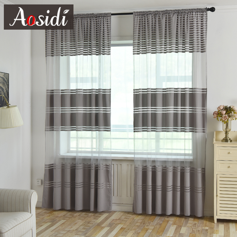 Modern Solid Striped Tulle Curtains For Living Room Window Luxury Semi Sheer Curtains For Bedroom Treatments Voile Drapes Fabric